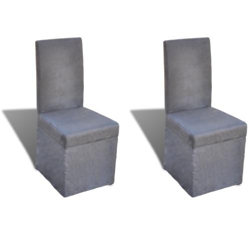 Lot de 2 chaises de salle à manger gris foncé