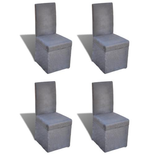 Lot de 4 chaises de salle à manger gris foncé