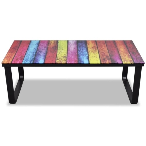 Table basse en verre arc-en-ciel