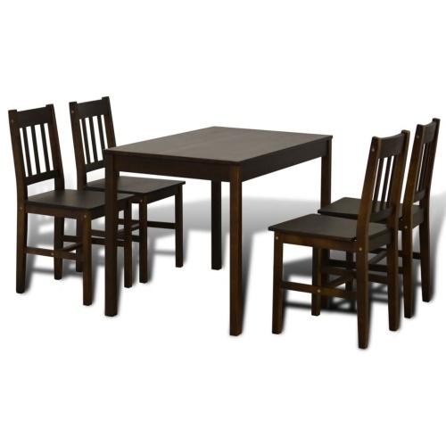 Ensemble table et 4 chaises en bois Brun