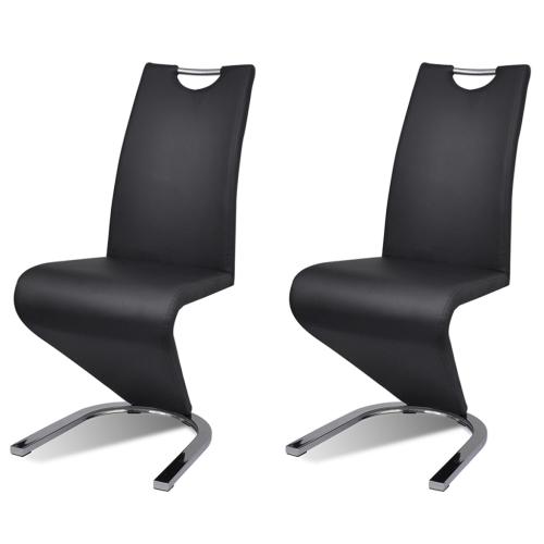 Lot de 2 chaises design en simili cuir noir