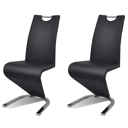 Lot de 2 chaises design en simili cuir noir