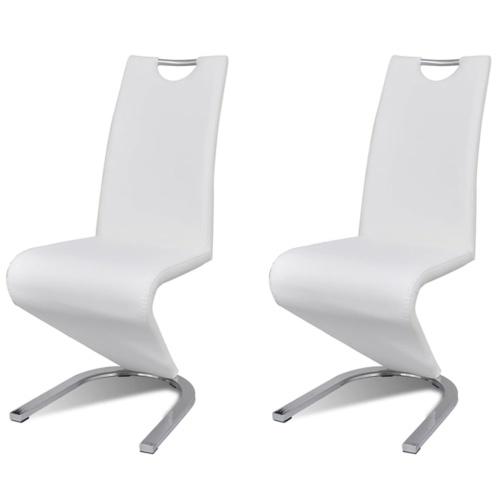 Lot de 2 chaises design en simili cuir blanc