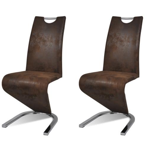 Chaise en simili cuir Cantilever avec pieds en forme de U Brun 2 pcs