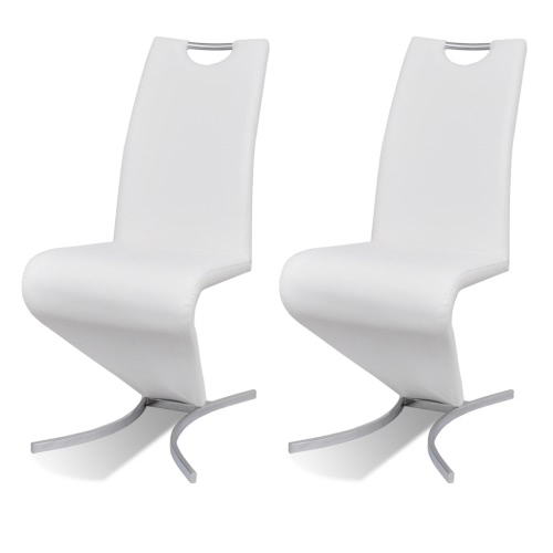 Chaise en simili cuir Cantilever avec pieds en forme de H Blanc 2 pcs