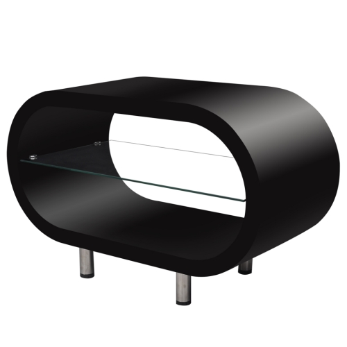 Table basse / meuble TV ovale noir brillant