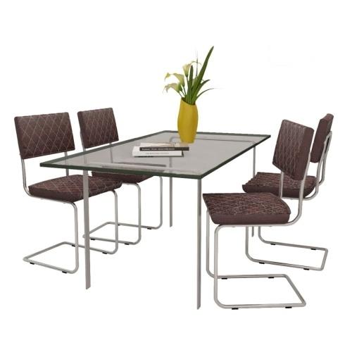 Chaise de salle à manger 4 pcs Cuir synthétique Marron