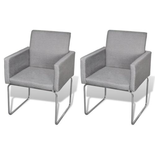 Lot de 2 chaises avec accoudoirs gris clair
