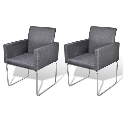 Lot de 2 chaises avec accoudoirs gris foncé