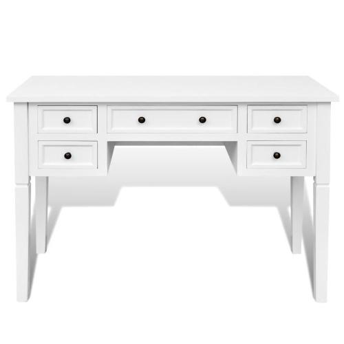 Bureau blanc à 5 tiroirs