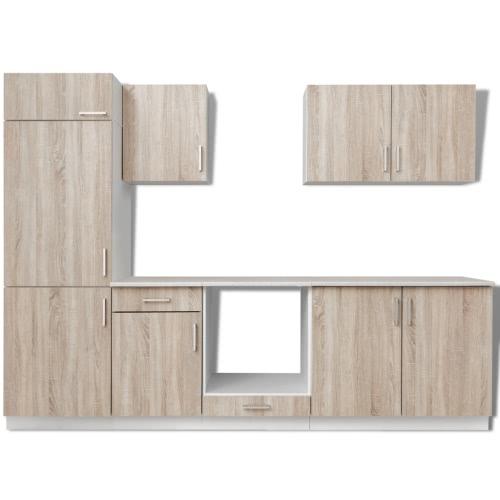 Ensemble de 7 meubles de cuisine pour réfrigérateur chêne