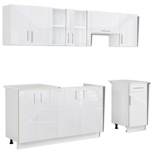 Ensemble de 7 meubles de cuisine blanc brillant