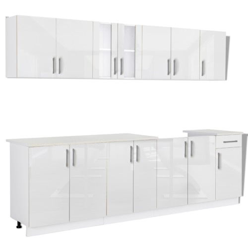 ensemble de 8 meubles de cuisine blanc brillant. Black Bedroom Furniture Sets. Home Design Ideas