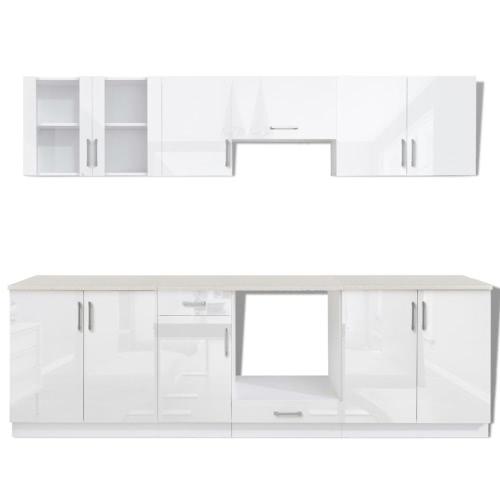 Ensemble de 8 meubles de cuisine blanc brillant