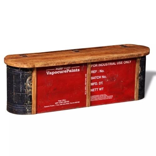 Banc de rangement en bois recyclé