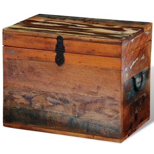 Coffre de rangement rectangle en bois recyclé