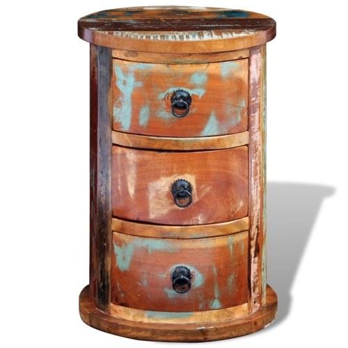 Table de chevet ronde avec tiroirs en bois recyclé
