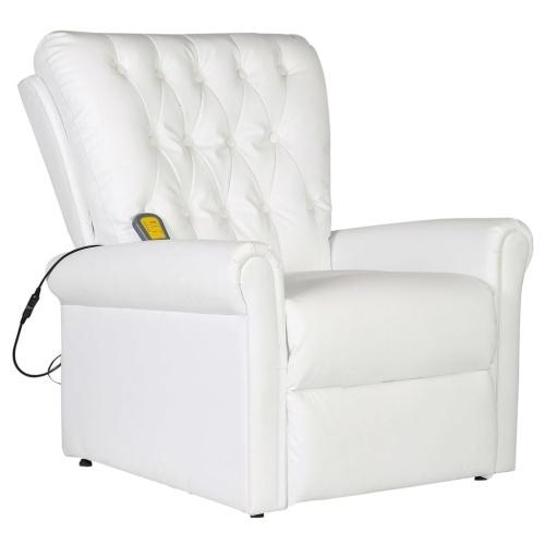 Fauteuil de massage électrique inclinable en cuir blanc