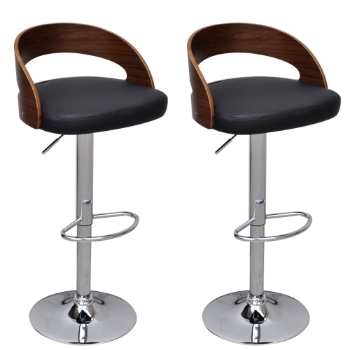 tabourets de bar design contemporain avec dossier en bois cintr lot de 2. Black Bedroom Furniture Sets. Home Design Ideas