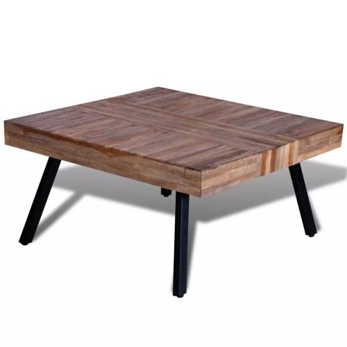 Table basse carrée en teck recyclé style industriel