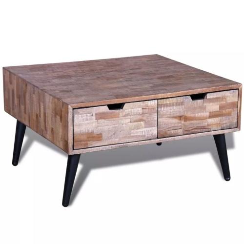 Table basse avec 4 tiroirs en teck recyclé