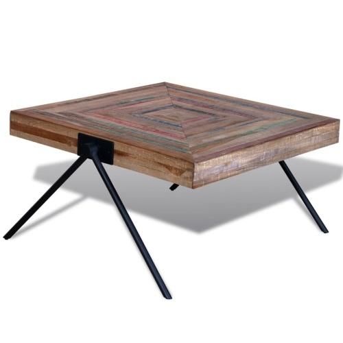 Table basse en teck recyclé style industriel