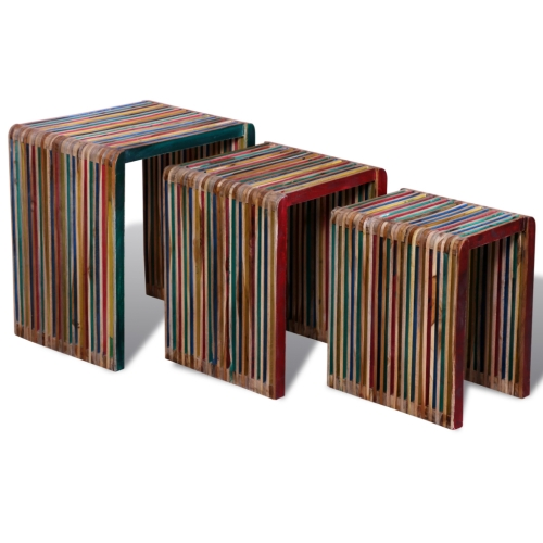 Set de 3 tables gigognes colorées en teck recyclé