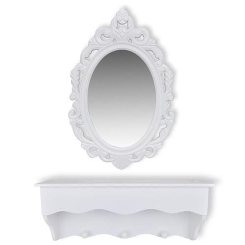 Ensemble Etagère et miroir blanc