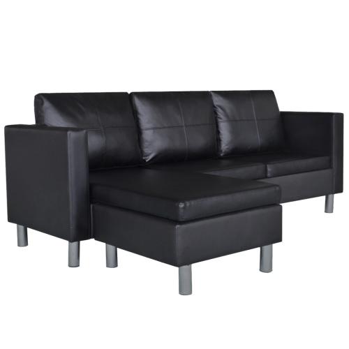Canapé d'angle modulable 3 places noir