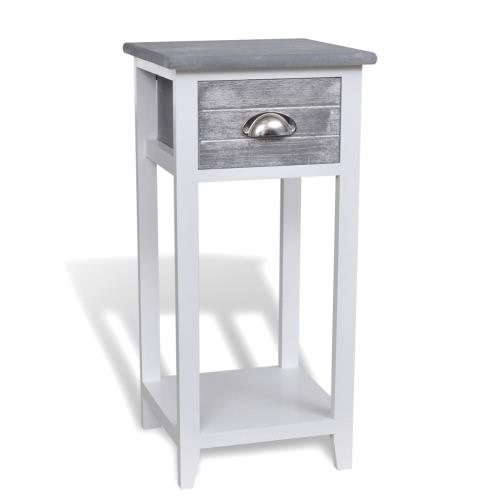 Table de chevet avec tiroir gris et blanc