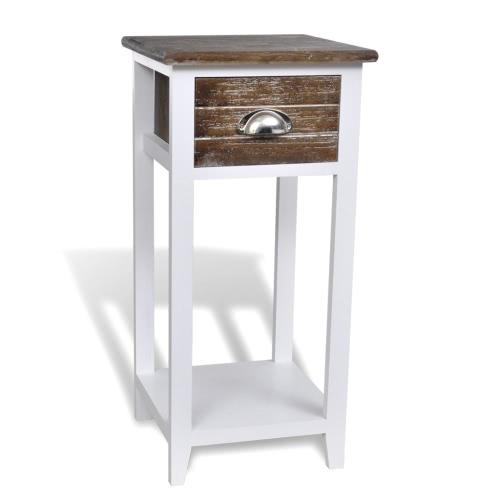 Table de chevet avec tiroir marron et blanc