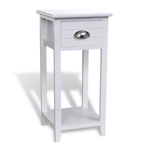 Table de chevet avec tiroir blanc