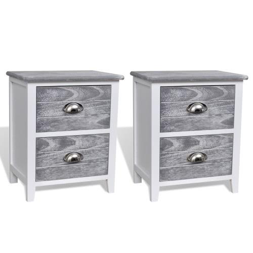 Ensemble de tables de chevet blanc et gris