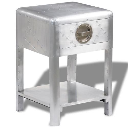 Table d'appoint avec tiroir - Aluminium