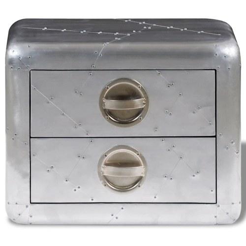 Table d'appoint avec tiroirs en aluminium