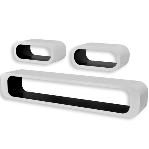 Lot de 3 Etagères Cubes Suspendues Blanc/Noir