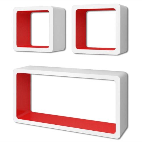 Lot d'étagères cubes murales  Blanc-rouge