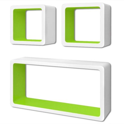 Lot de étagères cubes murales  Blanc-Vert