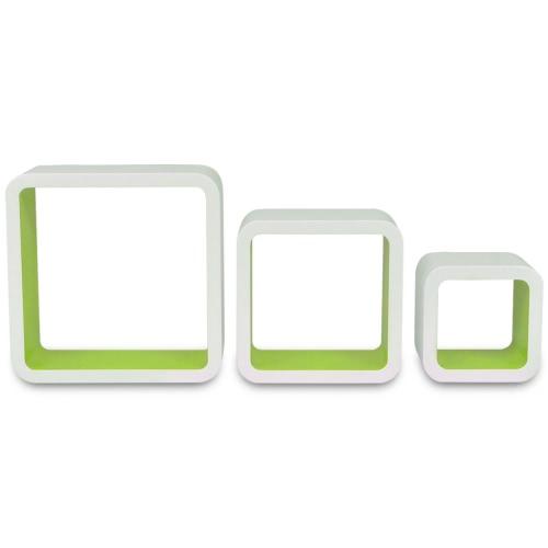 Lot de 3 étagères cubes murales blanc-vert