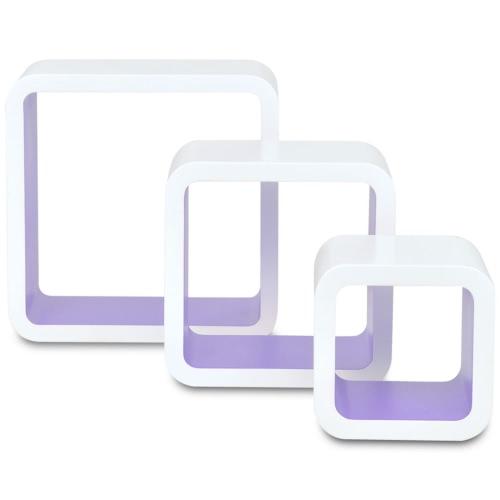Lot de 3 étagères cubes murales blanc-violet