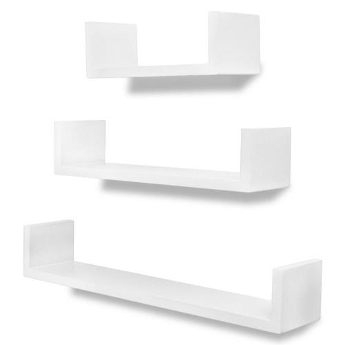 Lot de 3 étagères murales en forme de U Blanc