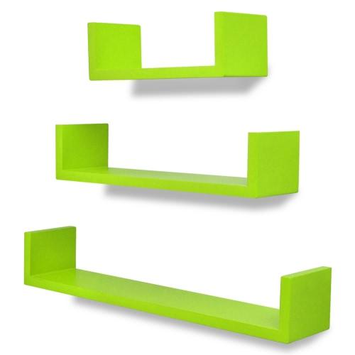 Lot de 3 étagères murales en forme de U Vert