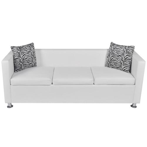 Canapé en cuir artificiel blanc - 3 places