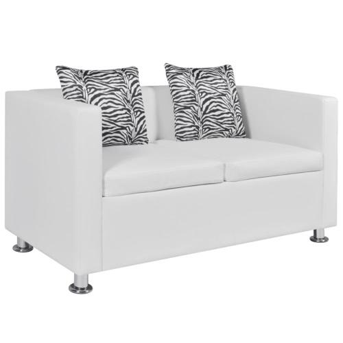 Canapé en cuir artificiel blanc - 2 places