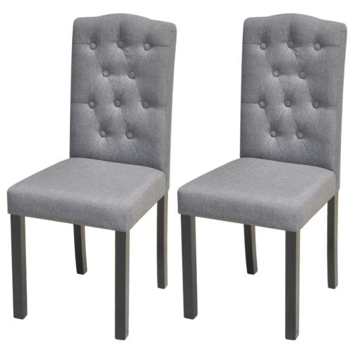Lot de 2 Chaises en tissu pour salle à manger Gris Foncé