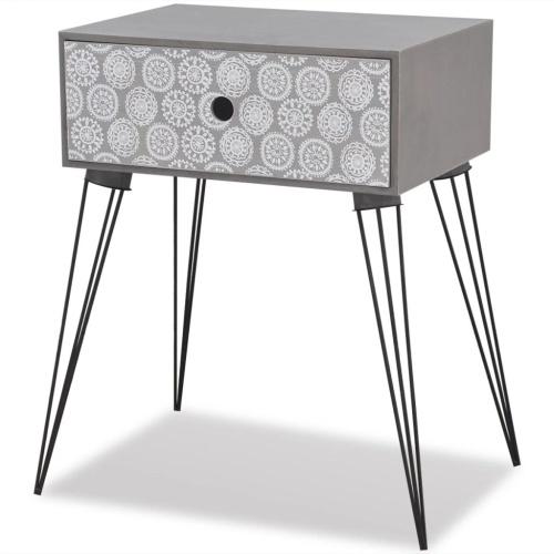 Table de chevet grise avec tiroir