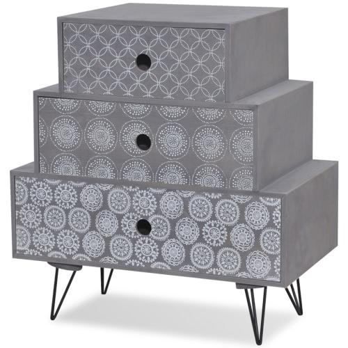 Table de chevet grise avec 3 tiroirs