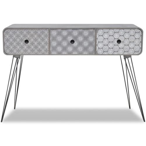 Table de chevet avec 3 tiroirs Gris