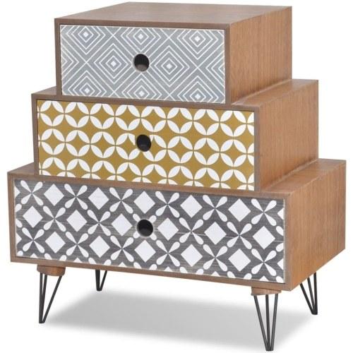 Table de chevet avec 3 tiroirs Brun
