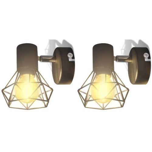 Lampes murales noir d'applique industriel à 2 ampoules LED à incandescence